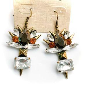 🆕 Gold Spiked White Rhinestone Earrings NWT